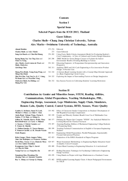 Contents Section I Special Issue Selected Papers from the ICOI 2013, Thailand