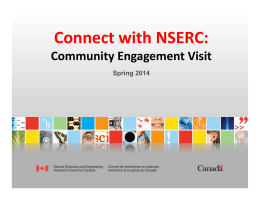 Connect with NSERC:  Community Engagement Visit Spring 2014