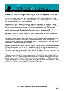 VILLAINS HEROES & What did the civil rights campaign in Birmingham achieve?