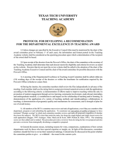 TEXAS TECH UNIVERSITY TEACHING ACADEMY  PROTOCOL FOR DEVELOPING A RECOMMENDATION
