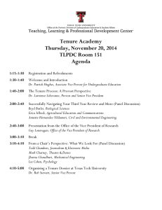 Tenure Academy Thursday, November 20, 2014 TLPDC Room 151 Agenda