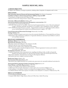 SAMPLE RESUME, MESc CAREER OBJECTIVE