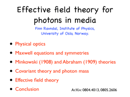 • Effective field theory for photons in media