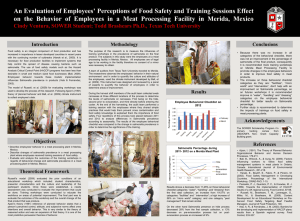 An Evaluation of Employees' Perceptions of Food Safety and Training... on the Behavior of Employees in a Meat Processing Facility...