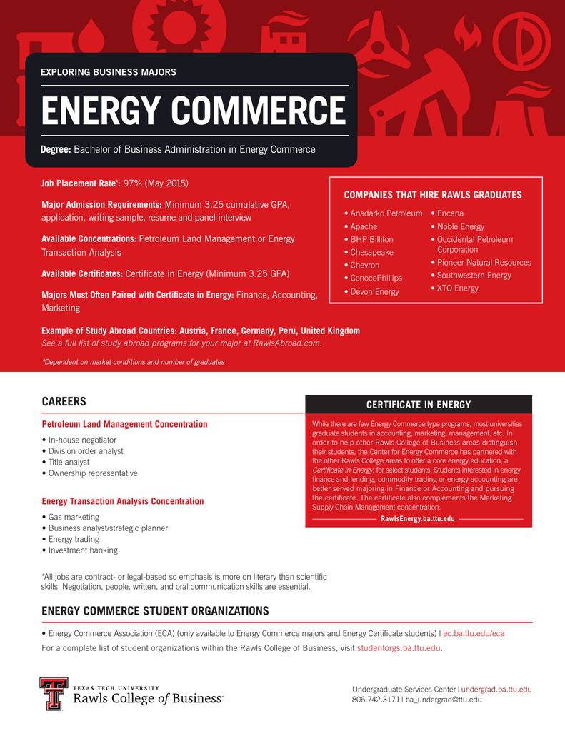 ENERGY COMMERCE Degree: COMPANIES THAT HIRE RAWLS GRADUATES ...