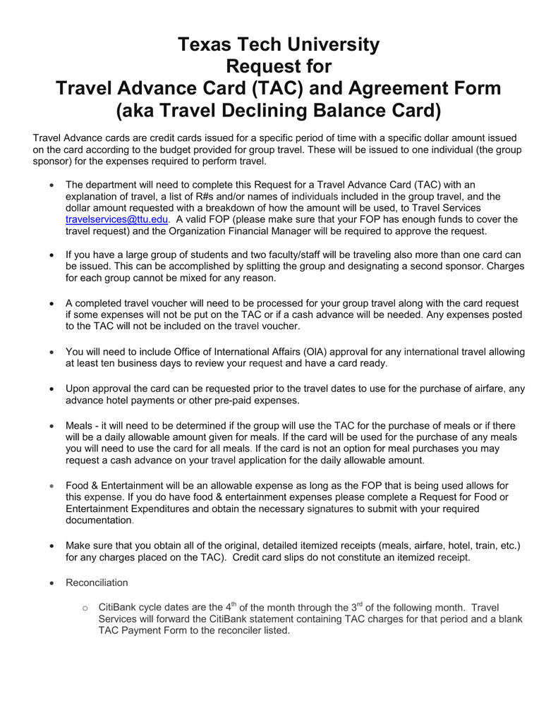 Texas Tech University Request For Travel Advance Card TAC And Agreement Form