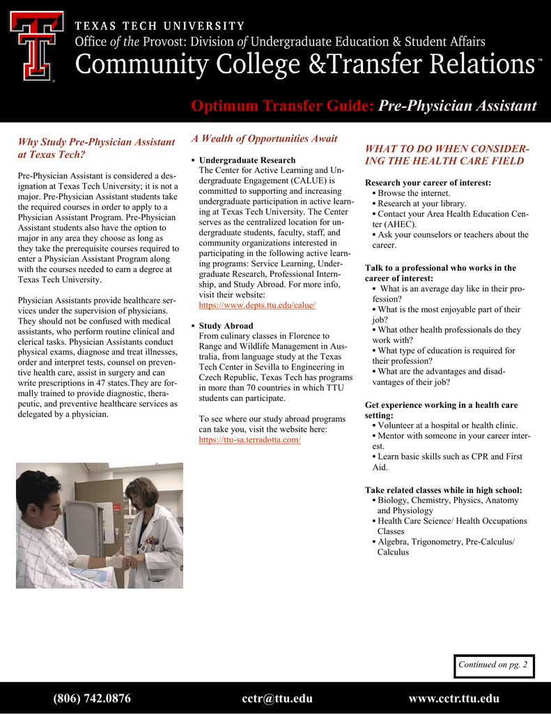Optimum Transfer Guide: Pre-Physician Assistant