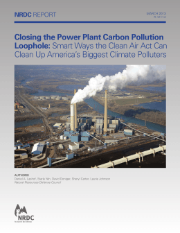 Closing the Power Plant Carbon Pollution Loophole: NRDC