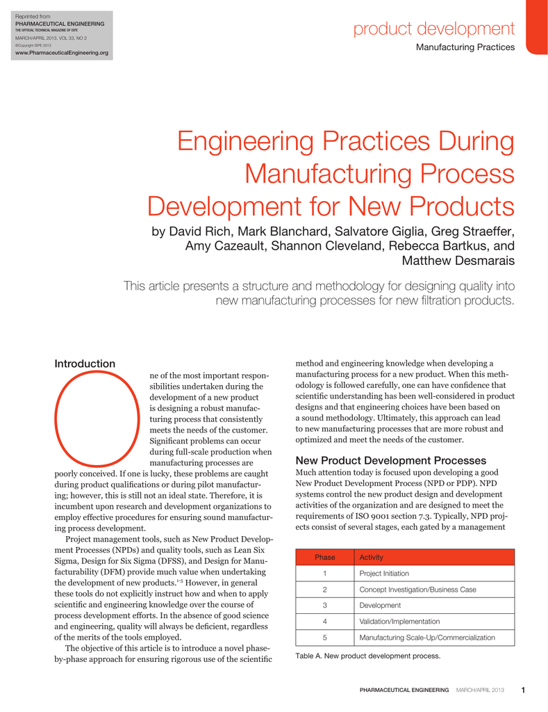 Engineering Practices During Manufacturing Process Development For New Products Product Development