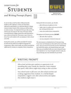 Students directions for  and Writing Prompt (Paper)