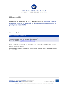 20 December 2015  Submission of comments on EMA/CHMP/57760/2015: Reflection paper on a