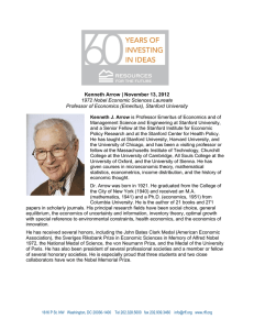 Kenneth Arrow | November 13, 2012 1972 Nobel Economic Sciences Laureate