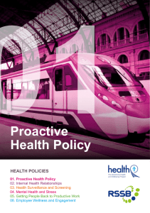 01 Proactive Health Policy HEALTH POLICIES