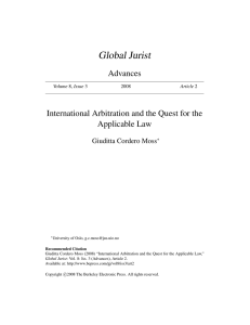 Global Jurist Advances International Arbitration and the Quest for the Applicable Law