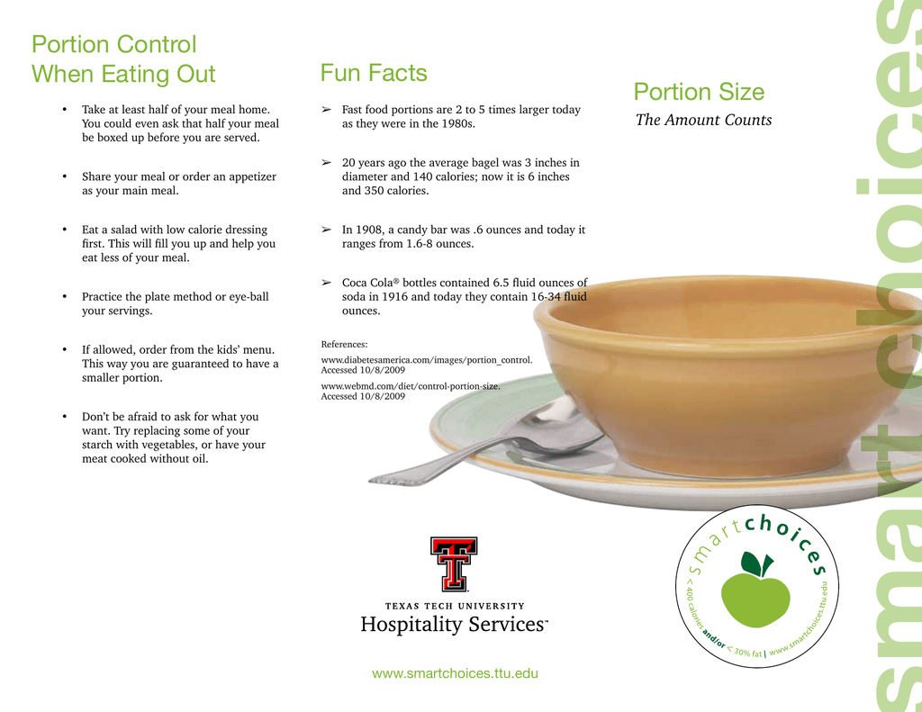 Portion Control Fun Facts When Eating Out Portion Size