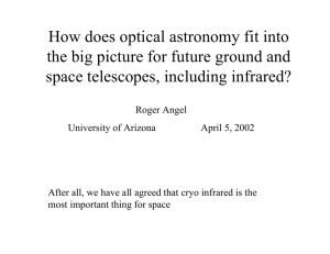 How does optical astronomy fit into space telescopes, including infrared?