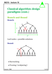 Classical algorithm-design paradigms (cont.) Branch-and-Bound Branch: