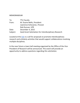 MEMORANDUM To: TTU	Faculty