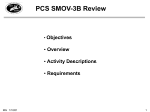 PCS SMOV-3B Review Objectives Overview Activity Descriptions