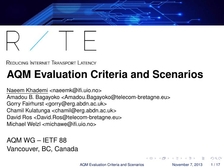 AQM Evaluation Criteria and Scenarios
