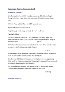 Numericals –Real and apparent depth Numerical Problem -1