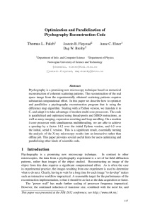 Optimization and Parallelization of Ptychography Reconstruction Code Thomas L. Falch Jostein B. Fløystad