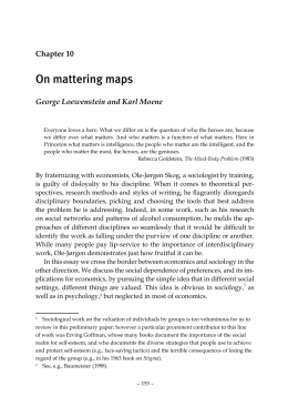 On mattering maps George Loewenstein and Karl Moene Chapter 10