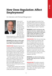How Does Regulation Affect Employment? An Interview with Richard Morgenstern Q&