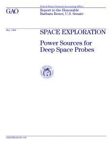 GAO SPACE EXPLORATION Power Sources for Deep Space Probes
