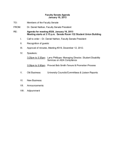 Faculty Senate Agenda January 16, 2013