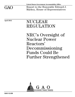 GAO NUCLEAR REGULATION NRC's Oversight of