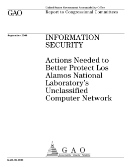 GAO INFORMATION SECURITY Actions Needed to
