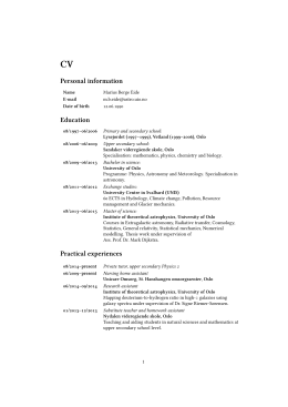 CV Personal information Education