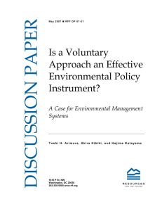 Is a Voluntary Approach an Effective Environmental Policy