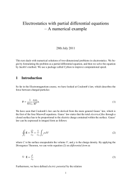 Electrostatics with partial differential equations – A numerical example 28th July 2011