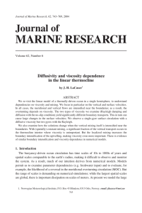 MARINE RESEARCH Journal of Diffusivity and viscosity dependence in the linear thermocline