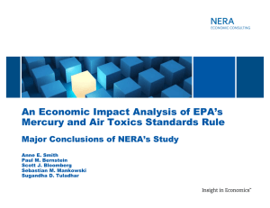An Economic Impact Analysis of EPA's Major Conclusions of NERA's Study
