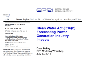 Clean Water Act §316(b): Forecasting Power Generation Industry Impacts