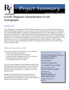 Project Summary 0-4193: Regional Characteristics of Unit Hydrographs Background