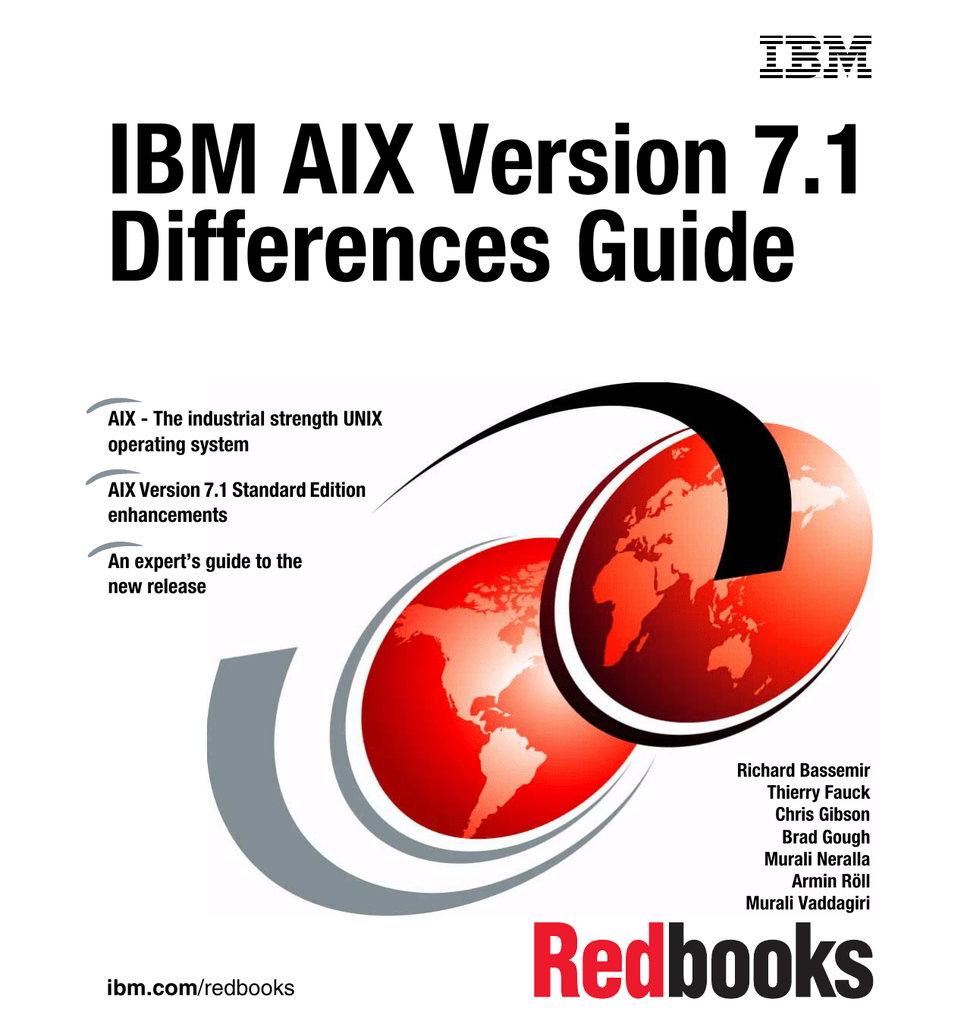 IBM AIX Version 7 1 Differences Guide Front cover