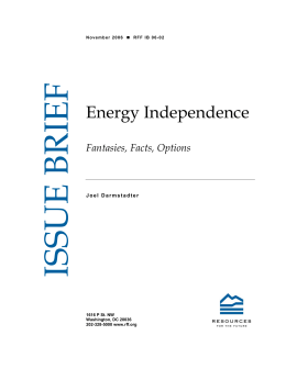ISSUE BRIEF  Energy Independence Fantasies, Facts, Options
