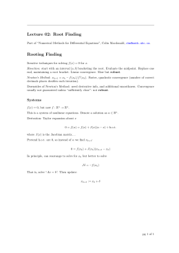 Lecture 02: Root Finding Rooting Finding