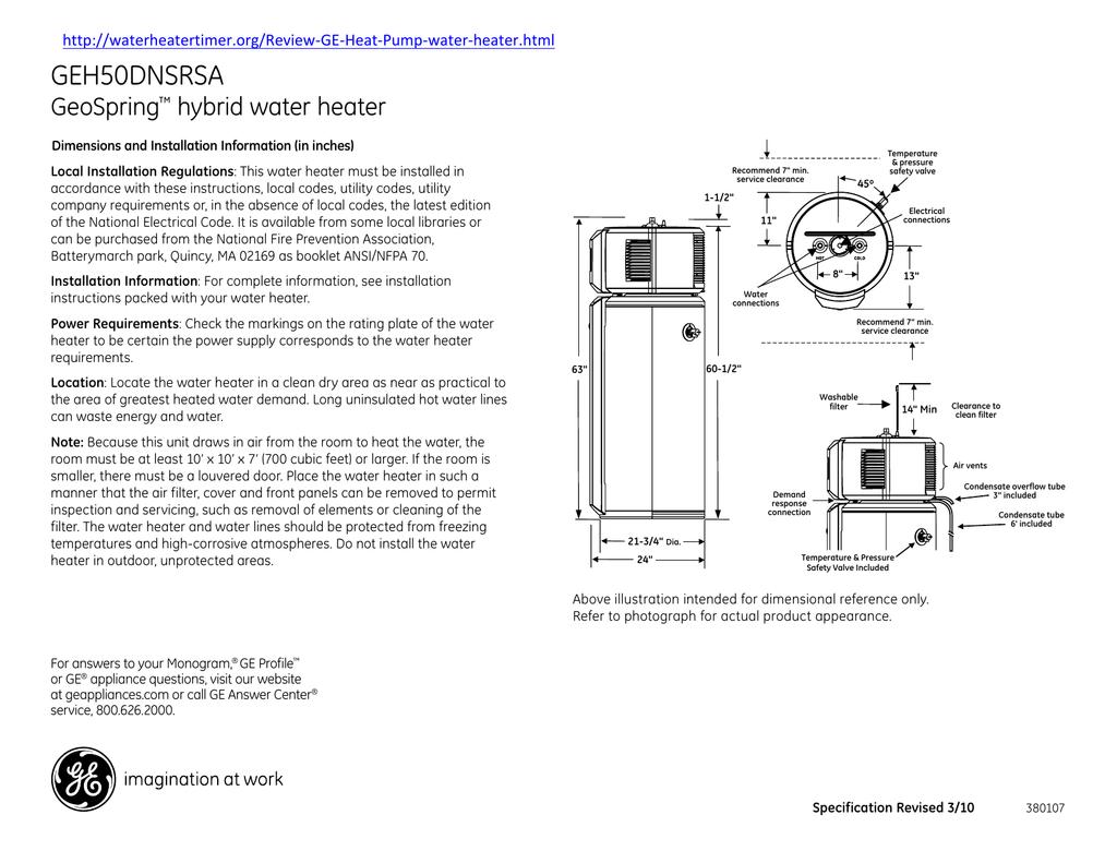 GEH50DNSRSA GeoSpring hybrid water heater on