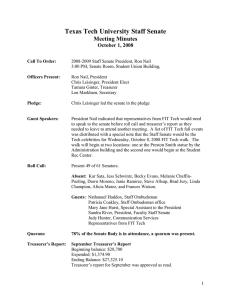 Texas Tech University Staff Senate Meeting Minutes October 1, 2008