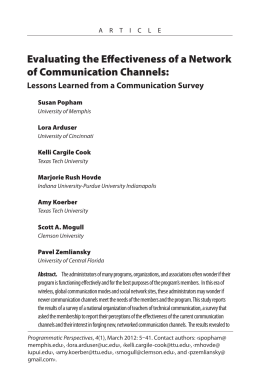 Evaluating the Effectiveness of a Network of Communication Channels: