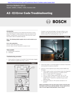 A3 - E3 Error Code Troubleshooting Service Bulletin G3-11