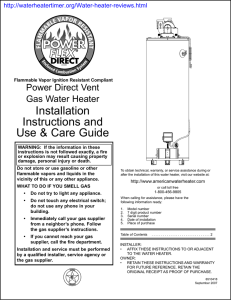 Installation Instructions and Use & Care Guide Power Direct Vent