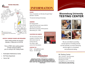 INFORMATION TESTING CENTER Bloomsburg University