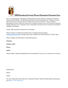 2016 Bloomsburg University Women's Recognition Nomination Form