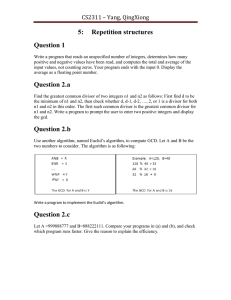 5: Repetition structures Question 1 CS2311 – Yang, QingXiong